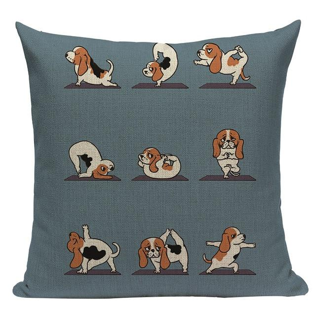 Yoga Basset Hound Cushion CoverCushion CoverOne SizeBasset Hound