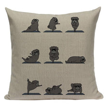 Load image into Gallery viewer, Yoga Basset Hound Cushion CoverCushion CoverOne SizePug - Black