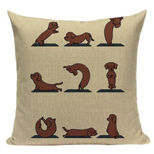 Load image into Gallery viewer, Yoga Chihuahua Cushion CoverCushion CoverOne SizeDachshund - Cream BG