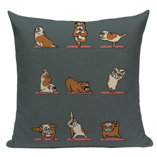 Yoga English Bulldog Cushion CoverCushion CoverOne SizeEnglish Bulldog