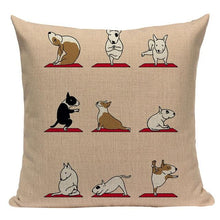 Load image into Gallery viewer, Yoga Pugs Cushion CoversCushion CoverOne SizeBull Terrier