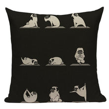 Load image into Gallery viewer, Yoga Pugs Cushion CoversCushion CoverOne SizePug - Black BG