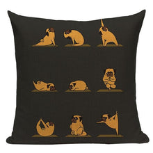 Load image into Gallery viewer, Yoga Pugs Cushion CoversCushion CoverOne SizePug - Dark Brown BG