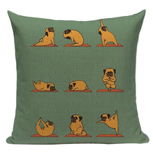 Load image into Gallery viewer, Yoga Pugs Cushion CoversCushion CoverOne SizePug - Green BG