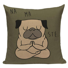 Load image into Gallery viewer, Yoga Pugs Cushion CoversCushion CoverOne SizePug - Namaste