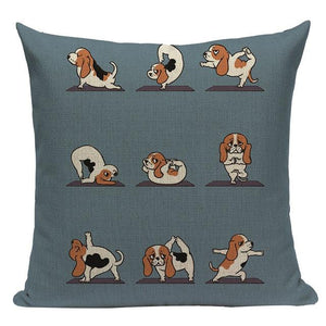 Yoga Rottweiler Cushion CoverCushion CoverOne SizeBasset Hound