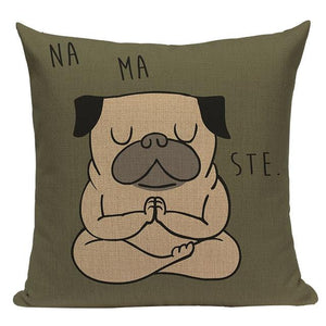 Yoga Rottweiler Cushion CoverCushion CoverOne SizePug - Namaste
