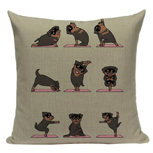 Load image into Gallery viewer, Yoga Rottweiler Cushion CoverCushion CoverOne SizeRottweiler