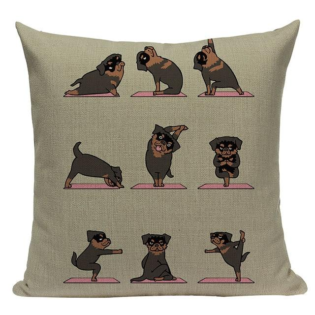 Yoga Rottweiler Cushion CoverCushion CoverOne SizeRottweiler