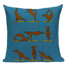 Load image into Gallery viewer, Yoga Schnauzer Cushion CoverCushion CoverOne SizeDachshund - Blue BG