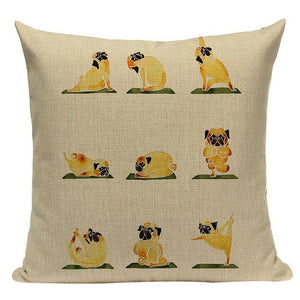 Yoga Schnauzer Cushion CoverCushion CoverOne SizePug - Cream BG