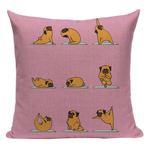 Yoga Schnauzer Cushion CoverCushion CoverOne SizePug - Pink BG