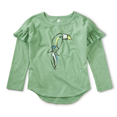 Tea Collection Beak Out Ruffle Graphic Tee