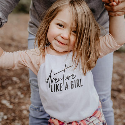 Made of Mountain Adventure Like a Girl Raglan