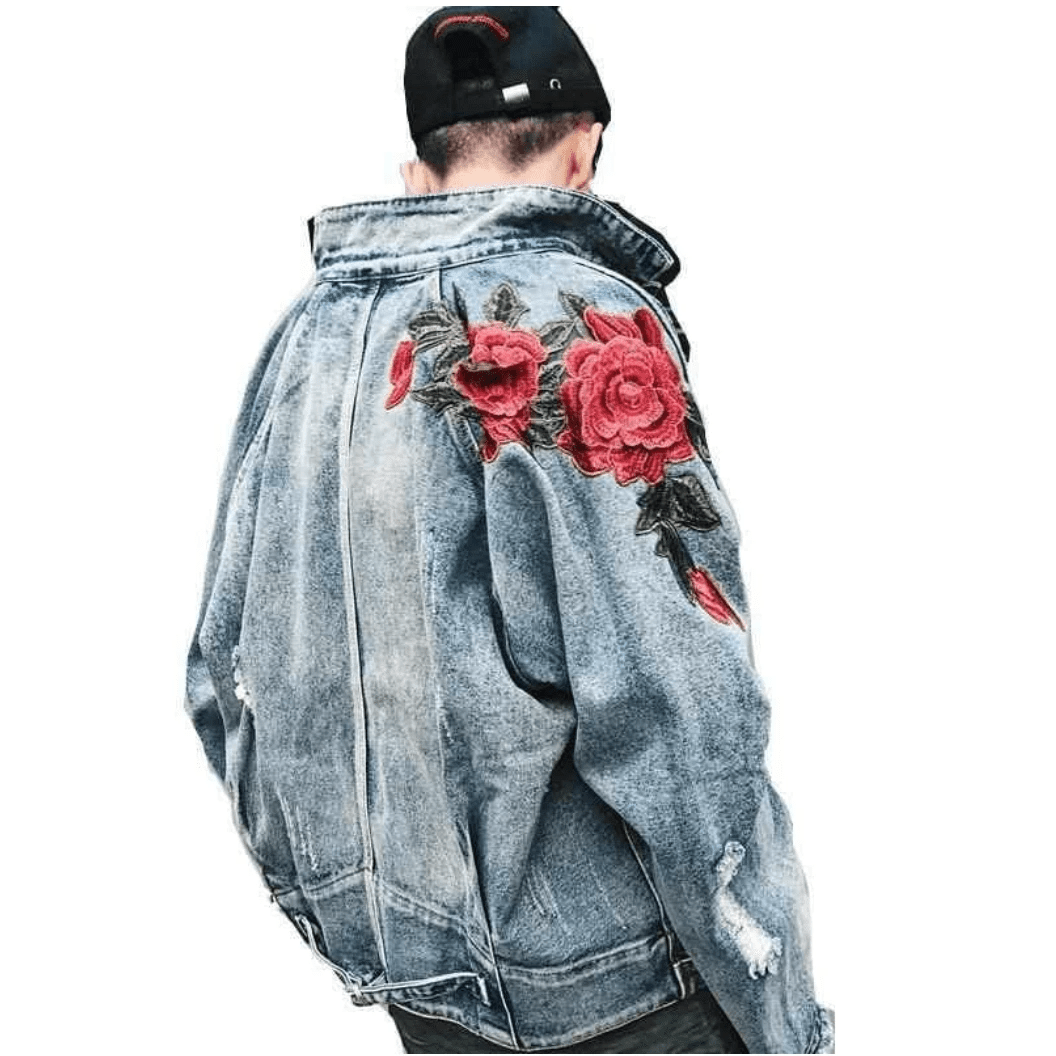 Hypest Fit outerwear Embroidered Floral Denim Jacket