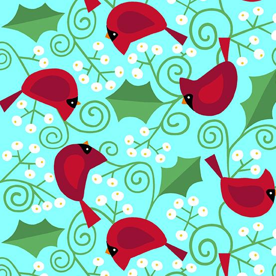 Andover Fabrics A Very Merry Cardinals on Blue A-9396-T