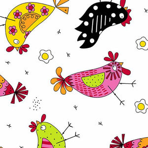 Andover Fabrics  The Coop Chicken Dance White  A-9630-L