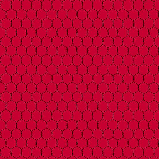 Andover Fabrics  The Coop Chicken Wire Red A-9635-R