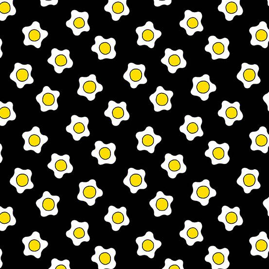 Andover Fabrics  The Coop Fried Eggs Black A-9633-K