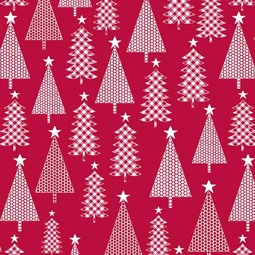 Benartex Contempo Joy Jolly Trees Red 0690510B