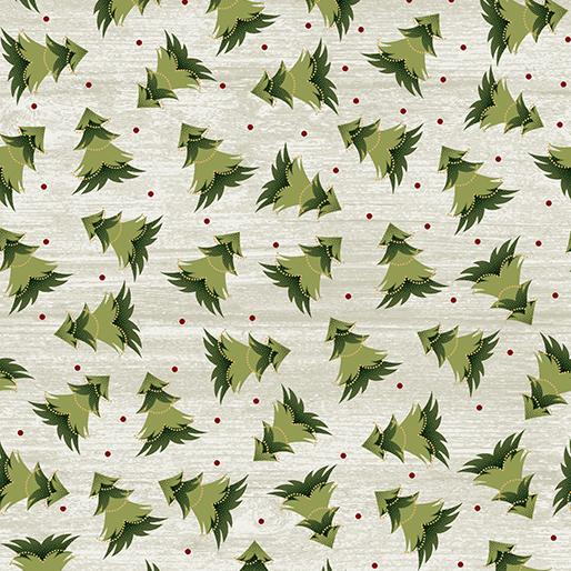 Benartex Fabrics Rustic Christmas Village Festive Tree White Wash 0688775B