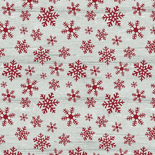 Benartex Fabrics Rustic Village Christmas Wood Flake Stone/Red 0688416B
