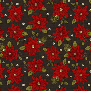 Benartex Winterberry Winter Poinsettia Black 0964212B