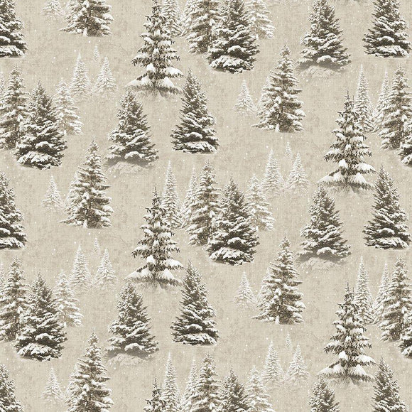 $12.99/YARD * PREORDER* Clothworks Quilt Minnesota 2021 Digital Snow Trees Khaki Y3315-12