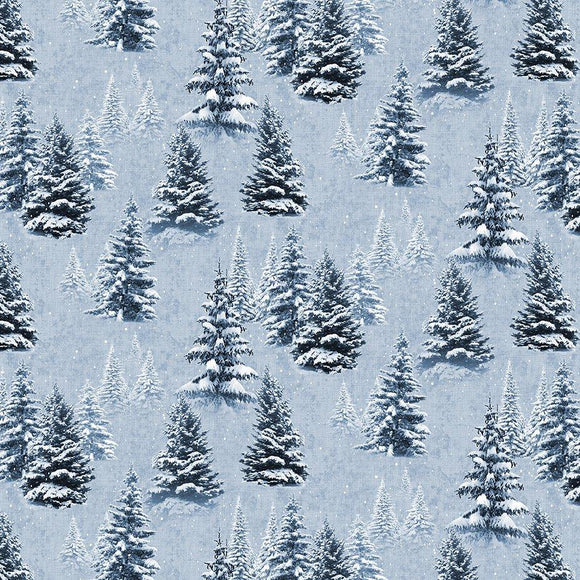 $12.99/YARD * PREORDER* Clothworks Quilt Minnesota 2021 Digital Snow Trees Light Denim Y33