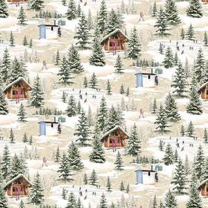 $12.99/YARD * PREORDER* Clothworks Quilt Minnesota 2021 Digital Winter Toile Taupe Y3316-62