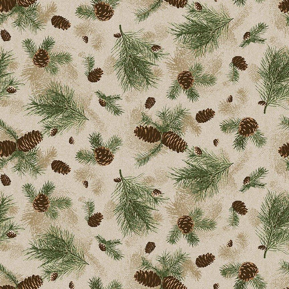 $12.99/YARD * PREORDER* Clothworks Quilt Minnesota 2021 Pine Branches Caramel Y3317-65