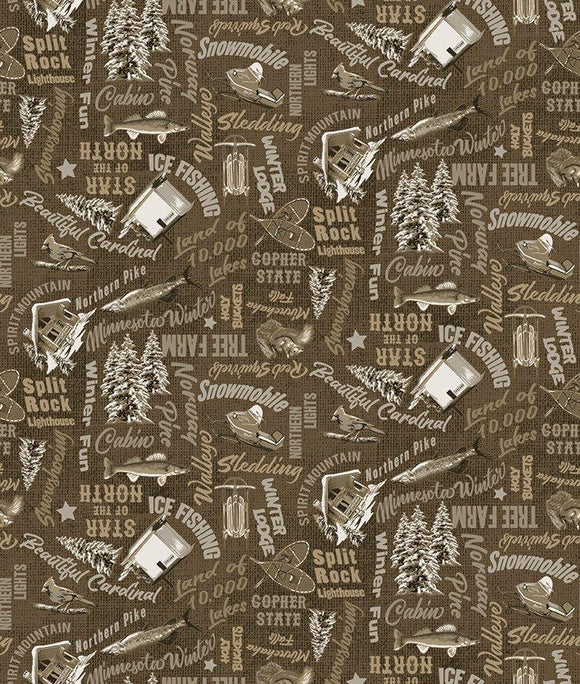 $12.99/YARD * PREORDER* Clothworks Quilt Minnesota 2021 Minnesota Woods Brown Y3319-15