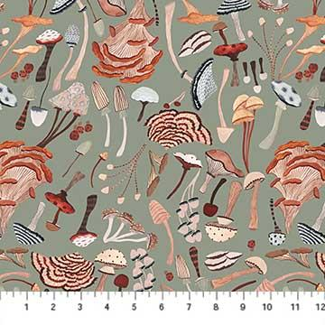 Figo  Fabrics After The Rain Mushrooms Grey Green 90161-72