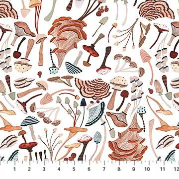 Figo  Fabrics After The Rain Mushrooms White 90161-10