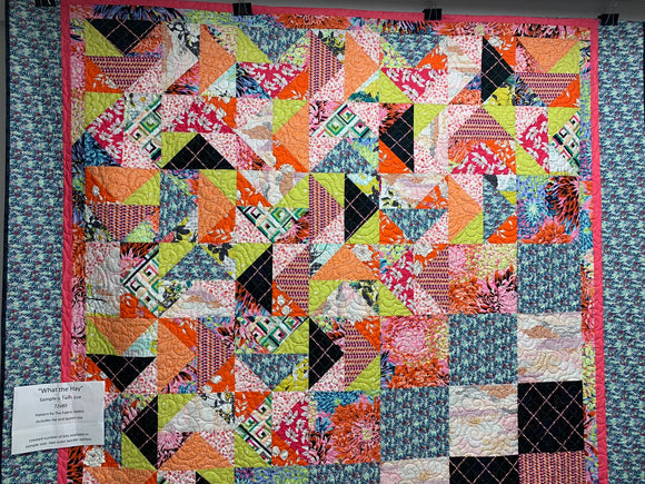The 'What the Hay' by Fabric Addict is a twin size quilt kit.  The finished quilt size measures  72