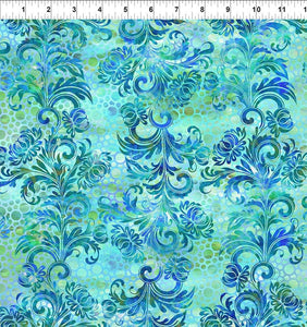 In The Beginning Fabrics FloragraphixV Dotted Flourish Blue 7FGE-2