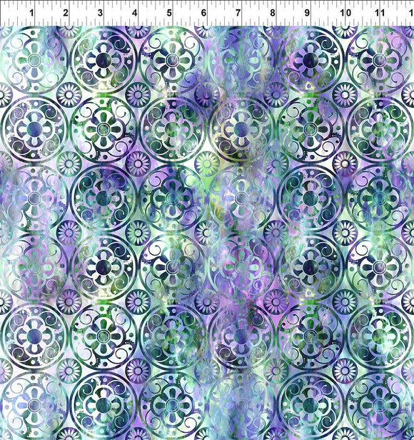 In The Beginning Fabrics FloragraphixV Medallions Green/Purple  9FGE-3