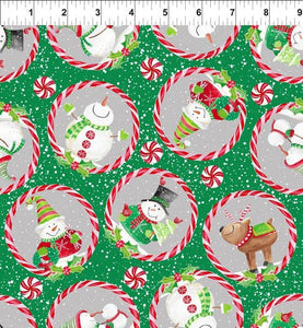 In The Beginning Joy Peace and Love Snowmen Green 3JHP-2