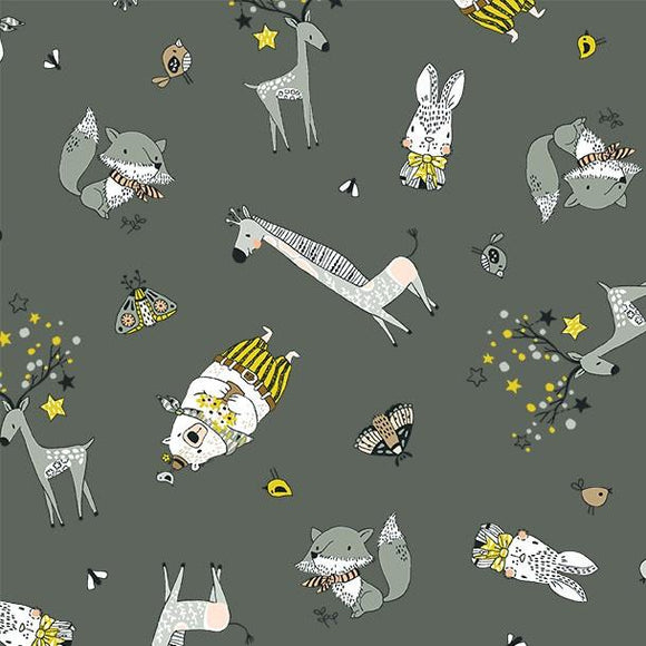 Michael Miller Fabrics Whimsicals Cute Critters DC9538-GRAY-D