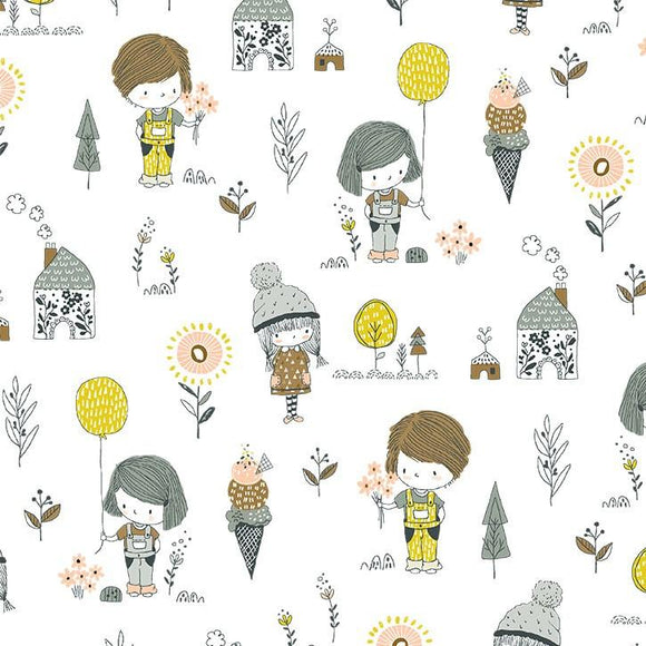 Michael Miller Fabrics Whimsicals Precious Things DC9537-WHIT-D