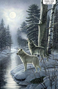 Northcott Fabrics Naturescapes Silver Moon Wolf Panel DP23656