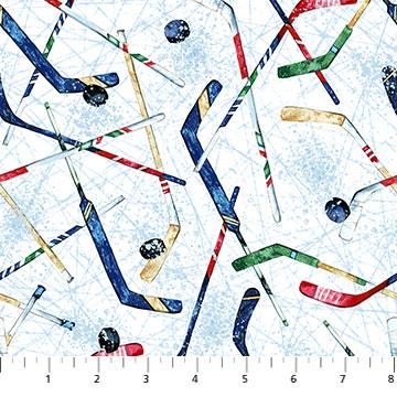 Northcott Fabrics Power Play Hockey Sticks White 23622-10