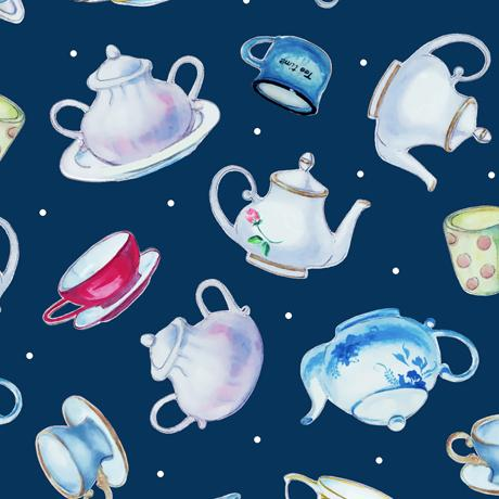 QT Fabrics This & That III  Teapots Navy 27824-N