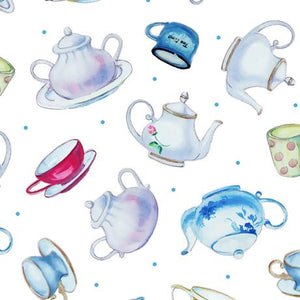 QT Fabrics This & That III  Teapots White 27824-Z