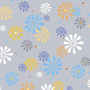 QT Fabrics Whale Of A Time Flower Power Gray 28100-K