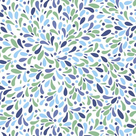 QT Fabrics Whale Of A Time Teardrop Geo White 28101-Z