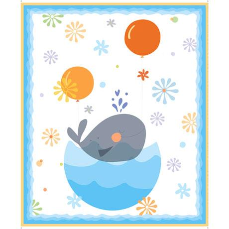 QT Fabrics Whale Of A Time Whales Panel 28098-Z