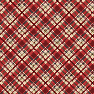 $12.99/YARD  * PREORDER*    Clothworks Quilt Minnesota 2021 Diagnol Plaid Light Red  Y3322-4