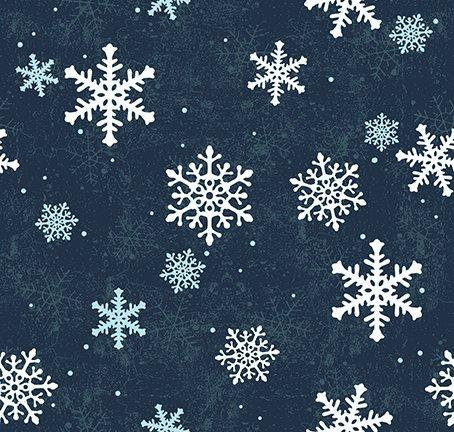 $12.99/YARD * PREORDER* Clothworks Quilt Minnesota 2021 Snowflakes Navy Blue Y3321-53