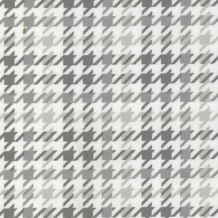 Robert Kaufman Cozy Cotton Flannel Grey Houndstooth Plaid SRKF-14733-12
